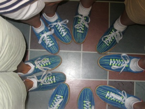 A circle of blue bowling shoes taken by my very tall friend K
