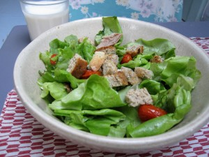 Warm roasted chicken salad