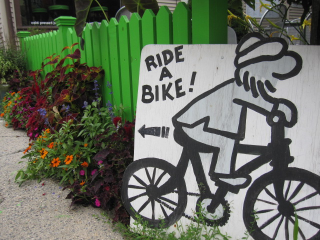 Ride a bike sign